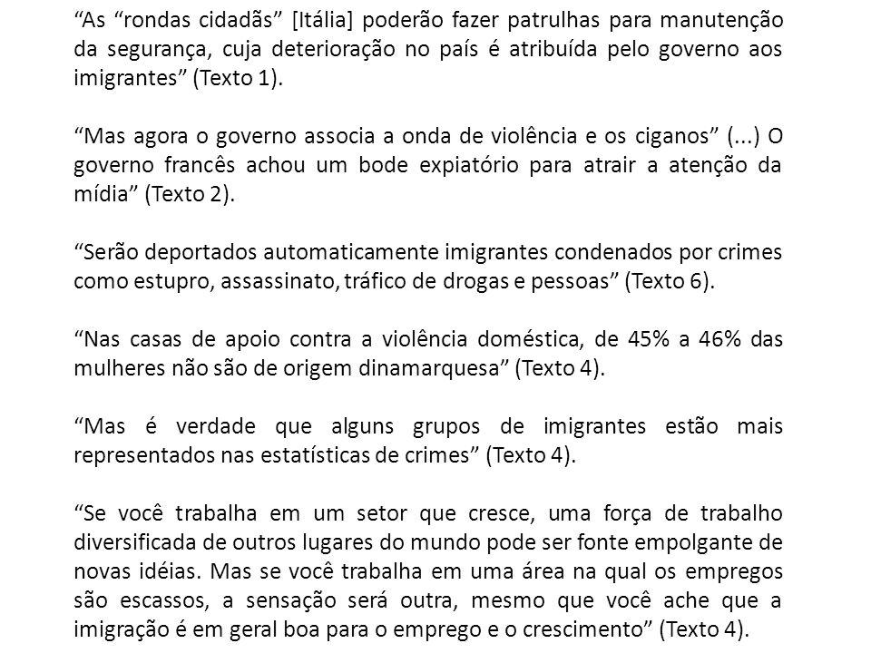 As rondas cidadãs [Itália] poderão fazer patrulhas para manutenção da segurança, cuja deterioração no país é atribuída pelo governo aos imigrantes (Texto 1).